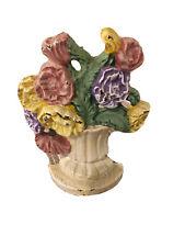 New listing antique cast iron floral vintage flower basket door stop