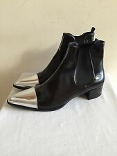 New w/o Box PRADA Black Leather Silver Toe Ankle Boots Shoes Size 39.5 / US 9.5