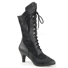 Black Lace Up Victorian Steampunk Walking Boots Wide Calf Womans size 10 11 12 W