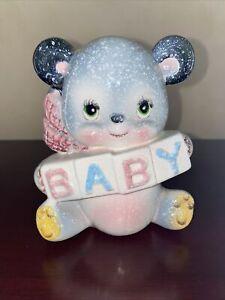 Vintage Rubens Blue Teddy Bear Ceramic Anthropomorphic Nursery Baby Planter 526