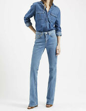 topshop women tally mid blue stretch kick flare stonewash denim jeans uk size 4