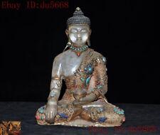 Tibet temple crystal silver Filigree inlay gem Shakyamuni Medicine Buddha statue