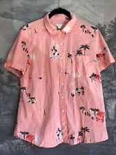 J. Crew Pink Hawaiian Print Palm Tree Retro Print Short Sleeve Blouse Size L