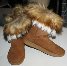 BROWN FAUX FOX  FUR AND SUEDE MIDCALF SLIP ON FASHION SNOW BOOTS { SZ: 40 -8}