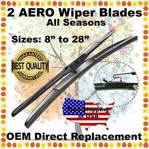 "AERO HYBRID 22"" + 22"" PREMIUM OEM QUALITY SUMMER WINTER WINDSHIELD WIPER BLADES"