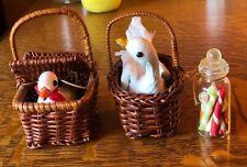 Byers Choice Misc. Duck Basket, Goose Basket, & Glass Candy Jar