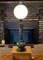 Rare Asian 5 Peacock Engrave Solid Brass Chimney Globe Milk Glass Lamp Shade