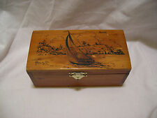 Vintage Cedar Chest Jewelry Trinket Box Picture Of Sail Boat and Seattle