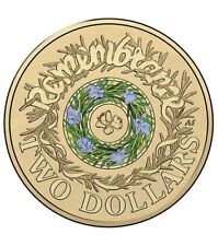 2017 AUSTRALIAN $2 TWO DOLLAR COIN - ANZAC REMEMBRANCE ROSEMARY BLUE / GREEN