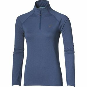 Asics Women's Running 1/2 Zip Long Sleeve Jersey - Heather Blue - New