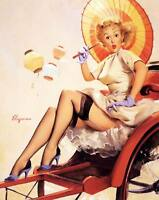 Vintage GIL ELVGREN Pinup Girl QUALITY CANVAS PRINT Poster China Travels A4