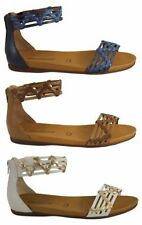 Zip Leather Ankle Strap Sandals & Flip Flops for Women