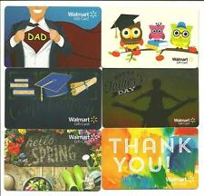 Lot of (6) Walmart Gift Cards No $ Value Collectible School Fathers Day Spring