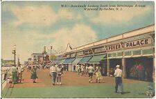 Boardwalk Looking South in Wildwood By-The-Sea NJ Postcard 1955