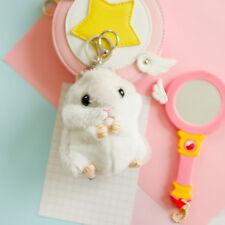 Gray Mini Hamster Pom Pom Women fluffy Bunny Toy Hamster Doll Car Jewelry Gift