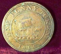 1814 LOWER CANADA ONE PENNY  token RICHARD HURD   LC # 52 ; BRETON # 989 cleaned