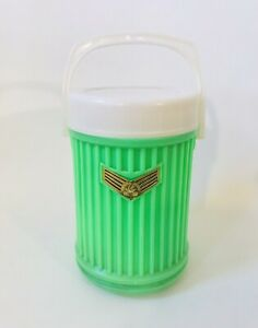 """Vintage Swallow Brand Thermos Insulate Flask Bottle Neon Green RARE 8"""" X 5"""" 1 L"""