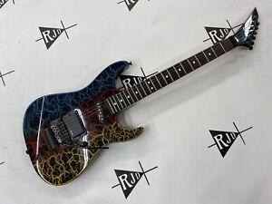 80's Jackson Charvel Japan Dinky Reverse 3DR Electric Guitar Rainbow Crackle