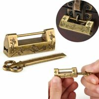 Chinese Vintage Antique Lock Old Style Key and Lock  Brass Carved Word Padlock