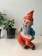Vintage Heissner? Garden Gnome Terra Cotta Resin Figure Accordion Dwarf Art