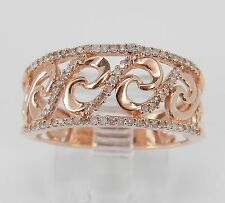 Rose Pink Gold Diamond Right Hand Cocktail Ring Anniversary Band Size 6.75