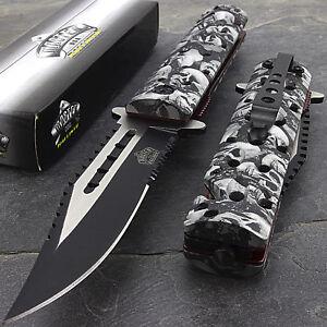 """8.75"""" MASTER USA GREY SKULLS ASSISTED OPEN TACTICAL FOLDING POCKET KNIFE Blade"""