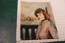 orig vintage WATERCOLOR: PIN-UP; lady, long tight coat at the DOCKS SMOKING