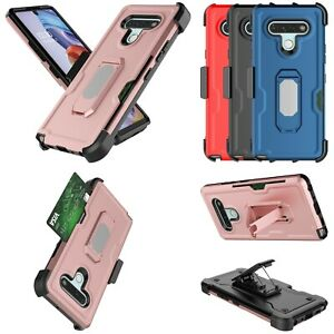 For LG Stylo 6 / Samsung Galaxy A11 Heavy Duty Case With Card Holder Stand Clip