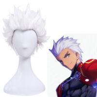 Fate Stay Night Go Extra Archer Emiya Short White Cosplay Wigs Straight Men Hair