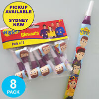 THE WIGGLES PARTY SUPPLIES 8 PAPER BLOWERS BLOWOUTS BIRTHDAY FAVOURS