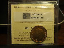 CANADA FIVE 5 CENTS 1943 DOT on 4 ICCS MS-64 !!!! VERY VERY RARE!!!