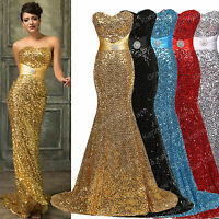 Long Mermaid Sequins Formal Wedding Bridesmaid Prom Gown Evening Party Dress NEW