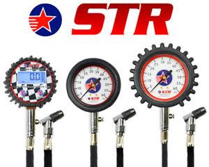 Motorsport Racing Tyre Pressure Gauge 0-60 PSI & 0-200 psi Swivel Chuck & Bleed