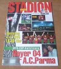 BAYER 04 Leverkusen V PARMA, 1994/95 - UEFA CUP SEMIFINALE PROGRAMMA MATCH