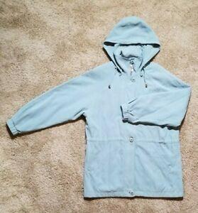 London Fog Size Large Women's Light Blue Jacket Coat Removable Hood