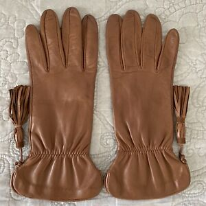 Beautiful Leather GLOVES  Women 100%Silk Brown Size 8 Made in Italy