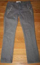 AMERICAN GLAMOUR Badgley Mischka Gray Skinny Leg Jeans 12 Embroidered Rhinestone