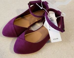 NEW Old Navy Toddler Girls 5 / 6 Ankle Strap Dress Shoes WINE PURPLE #31819