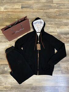 Loro Piana Tracksuit Men's Super Soft Cotton Hoodie Tracksuit In Black Size 50EU