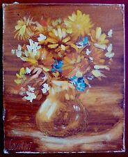 Gérard Gouvrant Huile sur toile signée bouquet de fleurs expressionnisme