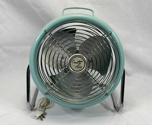 """Vtg Lakewood """"Country Aire"""" S-10 628 Teal Blue Metal Blade Fan Mid Century 1961"""