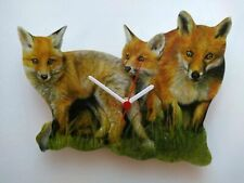 FOX AND CUBS HAND MADE WOODEN WALL CLOCK COUNTRY ANIMAL FARM YARD COLLECTION