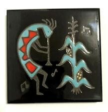 Cleo Teissedre Handpainted Ceramic Tile Kokopelli Coaster Trivet Wall Decor USA