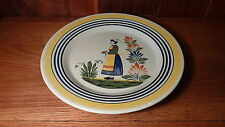 """VINTAGE FRENCH QUIMPER HENRIOT POTTERY  10 1/2""""  DINNER PLATE - WOMAN CENTER"""