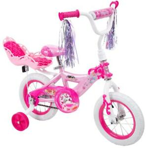 "Disney Princess Girls' 12"" Kids Bike with Doll Carrier Training Wheels 3+ Pink"
