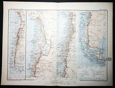 1890 ANTIQUE PRINT COLOUR MAP of CHILI Chile SOUTH AMERICA French CARTE