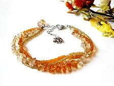 Raw Citrine Anklet Foot Bracelet Amber Topaz Yellow Orange Boho Beach Summer