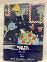 "Vtg Flannel Backed Vinyl Tablecloth 52"" x 52"" Square, Country Retro Farm Kitchen"