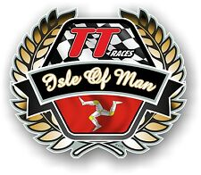 Golden Crest Emblem & Isle Of Man Mann Manx Flag For TT Races car helmet sticker