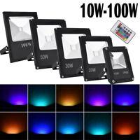 100W 50W 30W 20W 10W RGB LED Flood Light Spotlights Outdoor Security Remote IP65